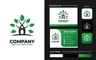 set di branding giardino albero vettore