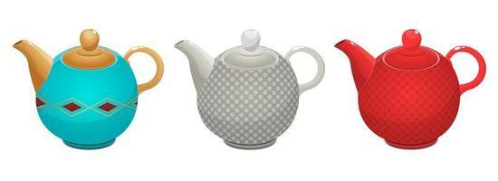 bollitore per il tè insieme isolato vettore