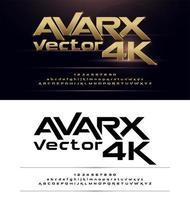 set alfabeto futuristico grassetto oro e nero