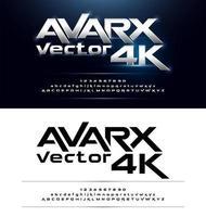 set di caratteri alfabeto grassetto metallico incandescente futuristico