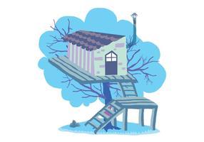 Divertente illustrazione vettoriale casa sull'albero