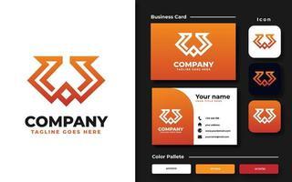 set di branding con monogramma iniziale w