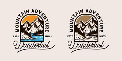 t-shirt di avventura in montagna a colori e moonchrome vettore