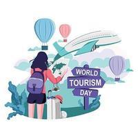 design della giornata mondiale del turismo con una ragazza che viaggia studiando la mappa vettore