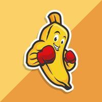 carattere di frutta banana boxe vettore