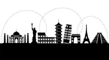 silhouette nera di attrazioni turistiche internazionali