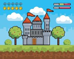 videogioco, scena del castello pixel-art vettore