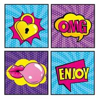 set di icone comiche pop-art