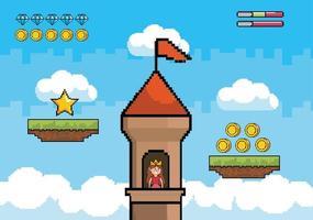 principessa pixel art in una torre del castello vettore