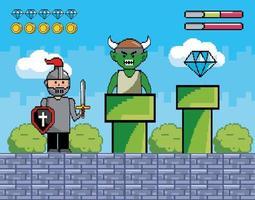 scena di battaglia pixel-art con cavaliere e mostro vettore