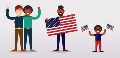 persone che tengono le bandiere degli Stati Uniti, in piedi l'una accanto all'altra