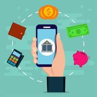 servizi bancari online con una mano che tiene uno smartphone