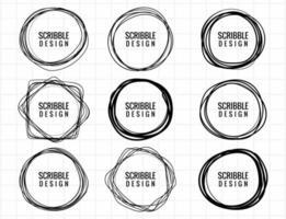 set di cerchio scarabocchio disegnato a mano vettore
