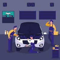team di meccanici che lavora in una manutenzione di auto vettore