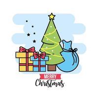 biglietto di auguri di icone di Natale vettore