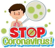 ragazzo malato con poster di coronavirus