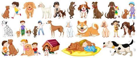 insieme di elementi di cane e bambini