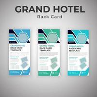 servizi di grand hotel blu e verde che pubblicizzano carte rack