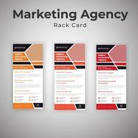 modello di volantino della carta rack dell'agenzia di marketing vettore