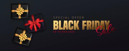 banner di vendita venerdì nero con scatole regalo nere su fondo nero vettore