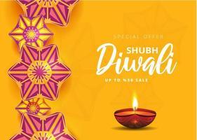 diwali festival holiday sale design con rangoli indiano vettore