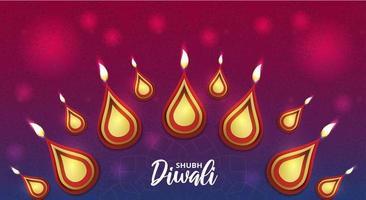 poster di diwali felice con rangoli indiano e bokeh vettore