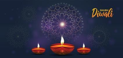 modello mandala viola incandescente con lampade a olio diwali realistiche vettore