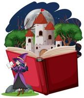 strega e torre del castello con pop-up in stile cartone animato libro su sfondo bianco