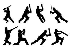 Silhouette di giocatori di cricket