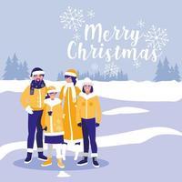 gruppo di famiglia con abiti natalizi