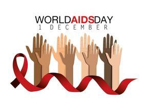 campagna mondiale contro l'AIDS con mani e nastro