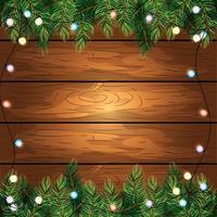 fondo in legno con luci vettore