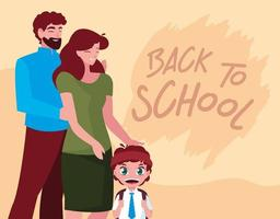 simpatico ragazzino studente con i genitori vettore