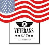 banner del giorno dei veterani con bandiera degli stati uniti