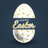 poster di uova di Pasqua con motivo a vite d'oro