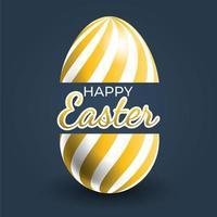 poster di uova di Pasqua con motivo a strisce curve oro