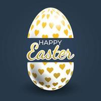 manifesto dell'uovo di Pasqua modellato cuore d'oro