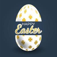 poster di uova di pasqua fantasia trifoglio oro vettore