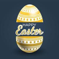 poster di uova di Pasqua con motivo a strisce e punti dorati