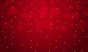 fiocchi di neve d'oro che cadono sul design bokeh rosso vettore