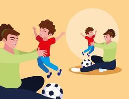padre che gioca con il figlio e una palla