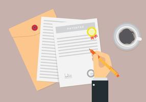 Lettera di brevetto con scrittura a mano vettore