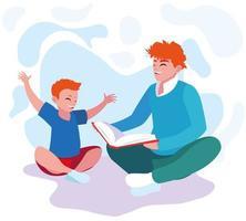 padre che legge con il disegno del figlio