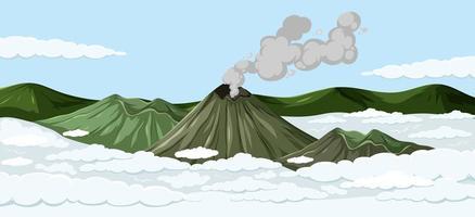 scena di vulcani sopra le nuvole vettore