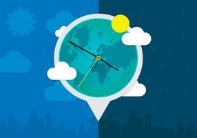 Illustrazione dell'orologio mondiale del quadrante del sole vettore