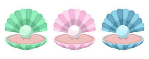 conchiglia con perla vettore