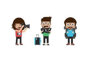 set di uomini giovani, hipster, turisti