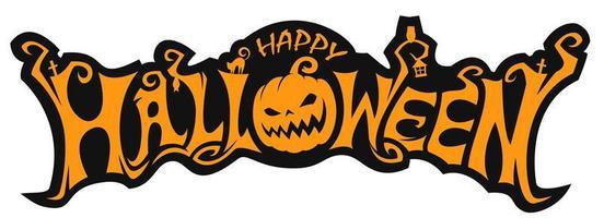 felice disegno di lettering zucca di halloween