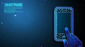 mano che tocca smartphone low poly wireframe mesh design vettore