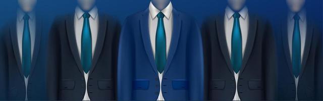 gruppo di uomini d'affari torsi nei toni del blu